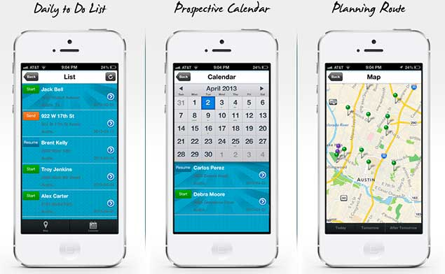 Mobile Map Calendar List